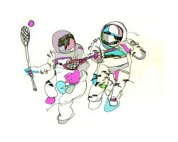 Astronauts playing Lacrosse by BoxHeadStudio