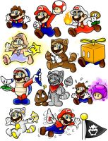 Super Mario 3D Land Power-Up Doodles (Mario) Color by SuperLakitu
