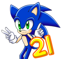 Happy 21st Birthday Sonic! by WatermelonOwl