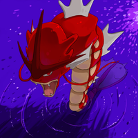 Titan the red Gyarados by LadyMurkrow