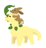 Bayleef and Eevee by RunningSpud