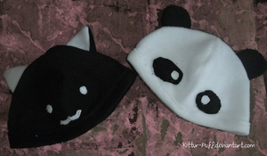 Kitty and Panda Hats by Kittur-puff