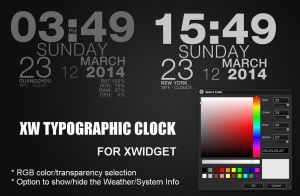 XW Typographic Clock for xwidget (FIXED) by jimking