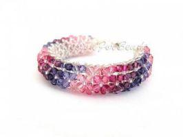 SW crystal floral bracelet by PassionForBeads