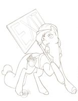 Big Apple Ponycon Ambrosia Exit sign tight pencils by Bee-chan
