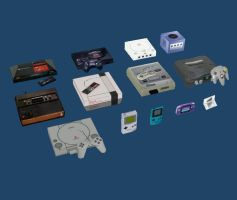 13 Low-Poly Video Game Consoles by Sakis25