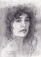 Diane Franklin portrait sketch in 2B graphite.. by FuzzyMonkeyMan
