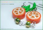 Fruit: Orange Slice Earrings 1 by junosama