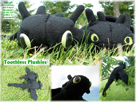 Toothless Plushies by DragonStomp