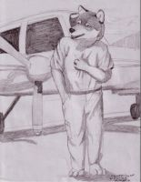 Grey Wolf at Airstrip by BrownWolfFM