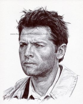 Supernatural - Castiel - Ink Portrait by NateMichaels