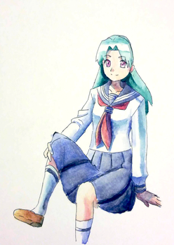 School girl with teal hair by CrystalClair