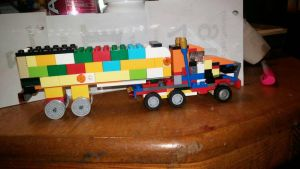 Lego tractor trailer truck by pieclown