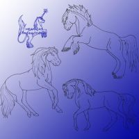 Horse Lineart Pack 4 by Mean-cat