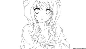 Free Anime girl lineart by SweetDevil332