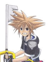 Sora with his Keyblade by KasumiKetchum