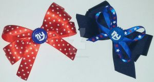 New York Giants Football Hair Bows by wolf-girl87
