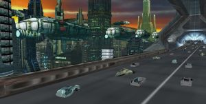 SCIFI CITY highway close up by scifilicious