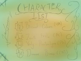 Character List by VerGenemi