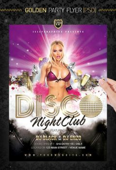 Golden Party Night Flyer Template by jellygraphics