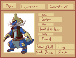 Personal NPC - Lawrence the Samurott by Kame-Ghost