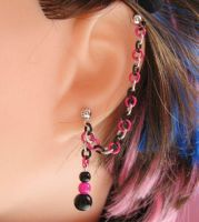Hot Pink and Black Earring by merigreenleaf