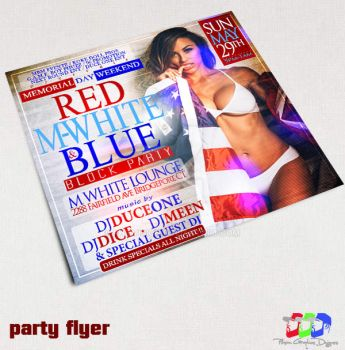Red White Blue Party Flyer by PhilVision