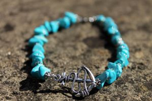 Turquoise and Silver Anchor Anklet by Clerdy