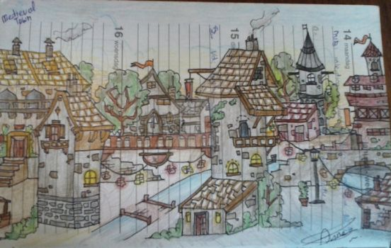 Diary doodle: medieval town by AwesomePirate