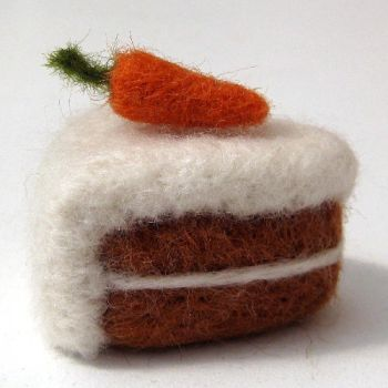 Needle Felted Carrot Cake Miniature by Poopycakes-makes
