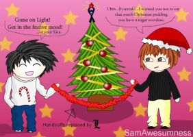 L and Light's Christmas by SamAwesumness