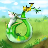 Hey... Stop that! - Art trade with Blueserperior by KingGhidorah2007
