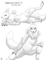 Sketchings 4 - Renamon by Fiidchell