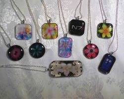 Homemade Glass Tile Necklaces by Kooro-sama