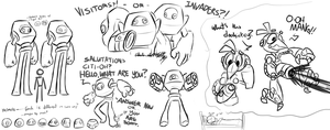 Visitors and Robot Crows Sketch Dump by Wonder-Waffle