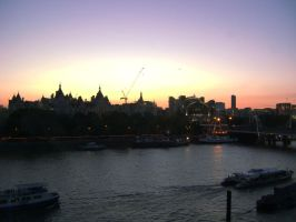 Sun Setting On The Thames by marigrace