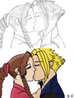 Cloud and Aerith Sketch by MissMinority