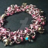 Pink and Grey Shaggy Loops Chainmaille Bracelet by Rosie-Periannath