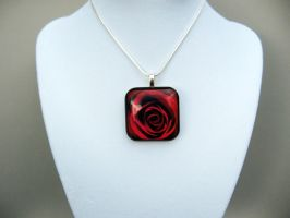 Red Rose Glass Pendant Necklace by AngelElementsEtsy
