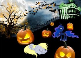Halloween with Princess Luna and Derpy by studentofdust
