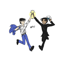 Shinichi and Heiji BFFs doodle by kartos