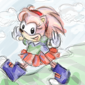 Classic Amy Rose - Sketch by Eikoe