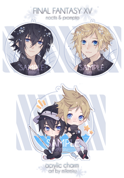 PRE-ORDER | noctis and prompto charms by milemiru