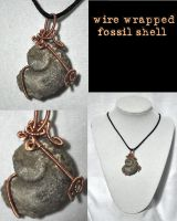 copper wrapped fossil pendant by JozzyKane