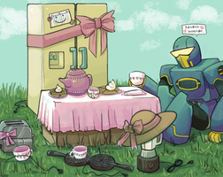 Soundwave's mini tea party by Humblebot