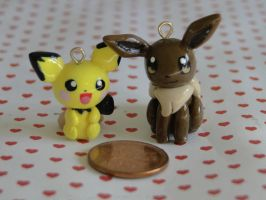 Polymer Clay Pichu and Eevee Charms by sanxcharms