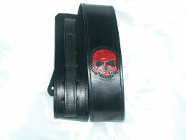 Leather guitar strap skull by GriffinLeather