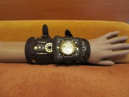 Steampunk leather bracer2 by EgorOrda