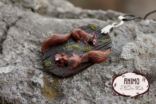 Pendant - Necklace - Little Squirrels by VivianaDark