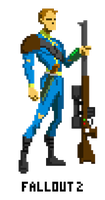 Fallout 2 The Vault Dweller pixel art by pansejra